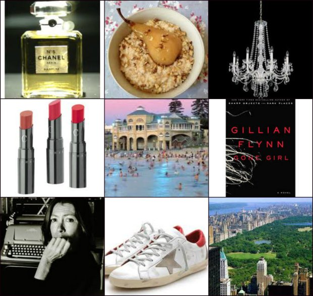 Chanel, porridge & stewed pears, chandelier, Chantecaille LIp Chic, Perth, Gone Girl by Gillian Flynn, Joan Didion, Golden Goose sneakers, New York City