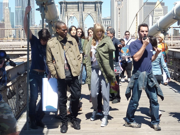 Brooklyn Bridge craziness! A Maybelline NYC ad campaign shoot.