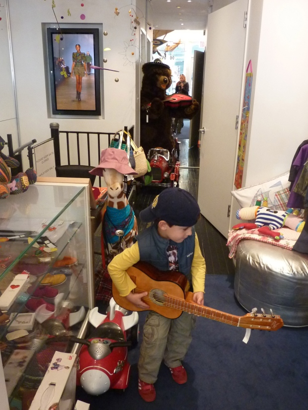 Rocking out at Marc Jacobs Kids on Bleeker Street, NYC.