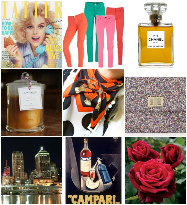 Big loves - Tatler, roses, sequins, Hermes and Brisbane City.