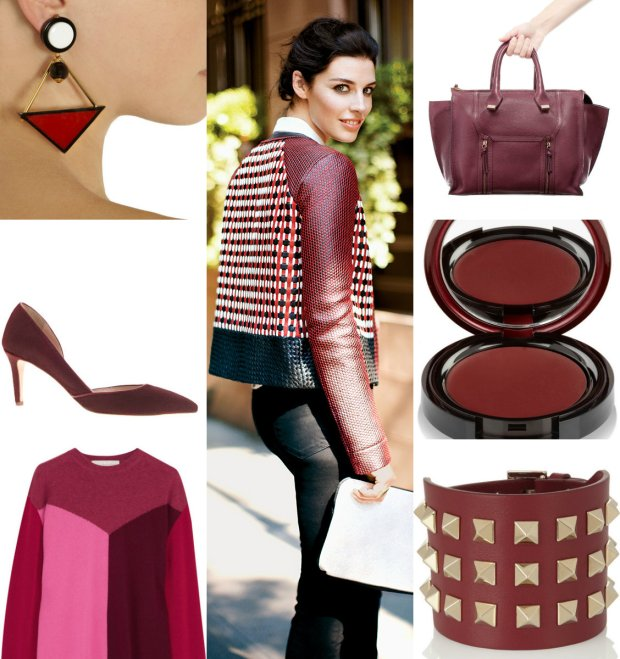 Marni earrings, Zara bag, Kevyn Aucoin blush in Mystere, Valentino clutch, Stella McCartney sweater, Zara shoes