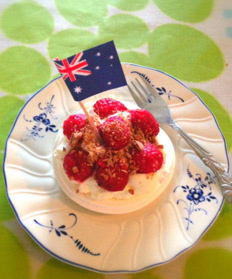 Waving the flag with Hugo's baby pav with raspberries and chocolate