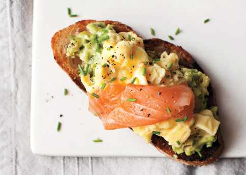 Silky scrambled eggs and smoked salmon on toast  - via bonappetit