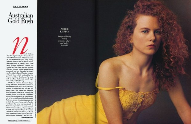 Young, fresh, and drowning in what would become her famous red curls, Aussie actress Nicole Kidman is a vision in a summery yellow dress in this portrait. Shot by Annie Leibovitz, the 23-year-old beauty was dating leading man Tom Cruise at the time. Shot July 1990.