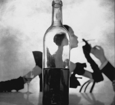 Girl Behind Wine Bottle,  by Irving Penn, 1949